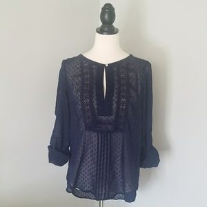 Daniel Rainn navy sheer Swiss dot top-size small